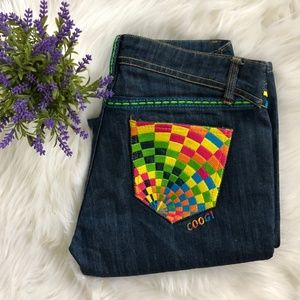 COOGI Dark Wash Colorful Psychedelic Jeans! 11/12